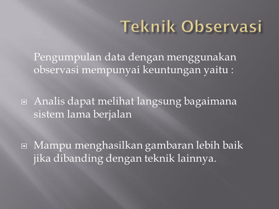 Teknik Observasi Pengumpulan data dengan menggunakan observasi mempunyai keuntungan yaitu :