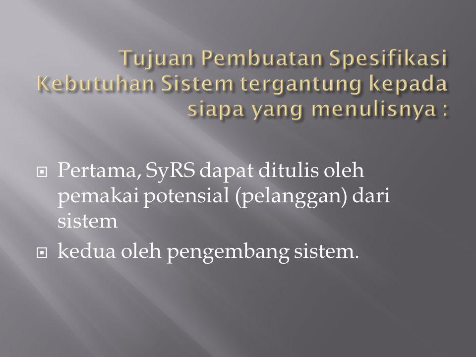 Tujuan Pembuatan Spesifikasi Kebutuhan Sistem tergantung kepada siapa yang menulisnya :