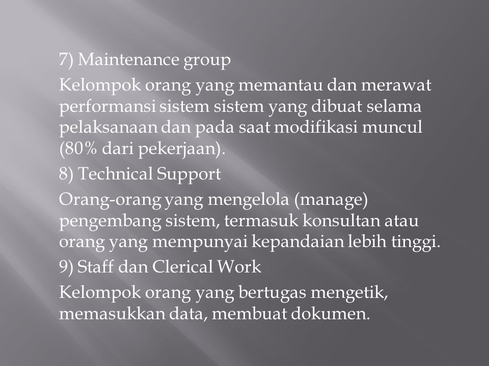 7) Maintenance group