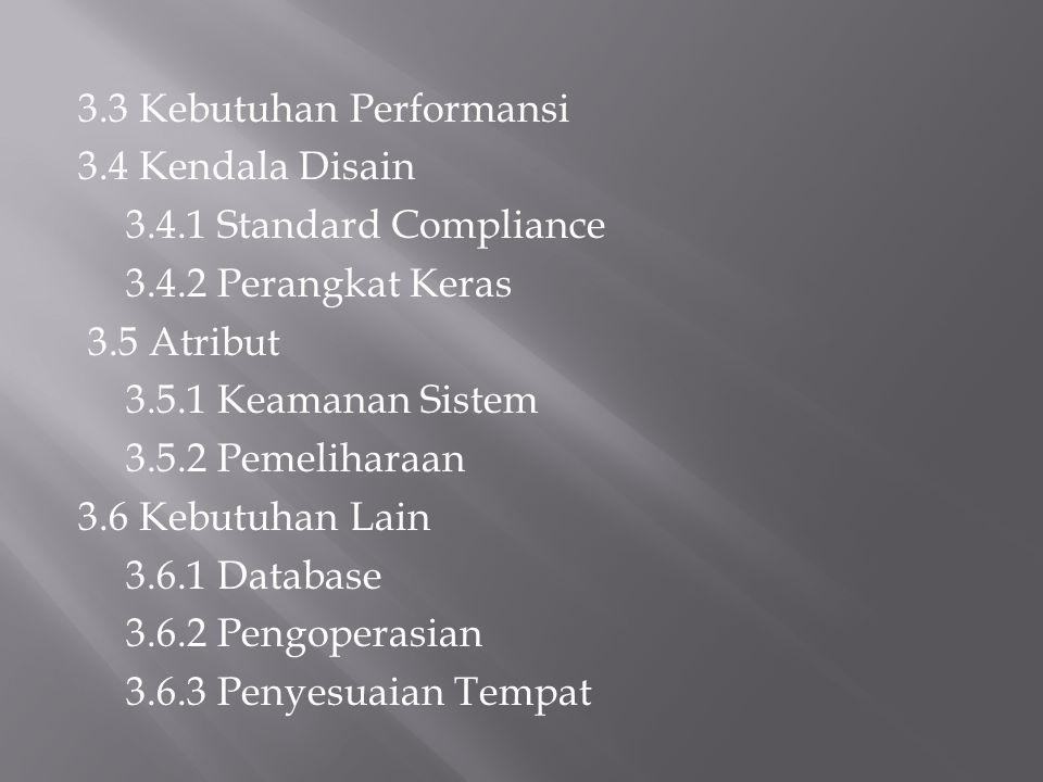 3.3 Kebutuhan Performansi