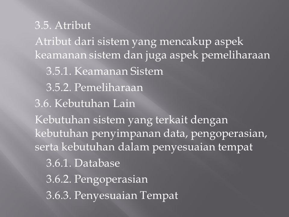3.5. Atribut Atribut dari sistem yang mencakup aspek keamanan sistem dan juga aspek pemeliharaan. 3.5.1. Keamanan Sistem.