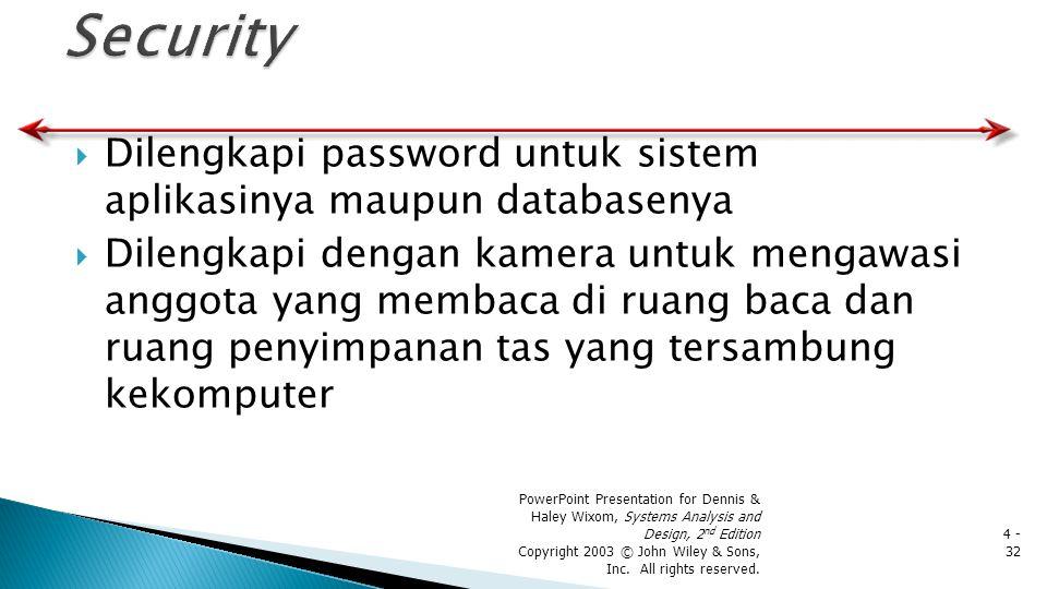 Security Dilengkapi password untuk sistem aplikasinya maupun databasenya.
