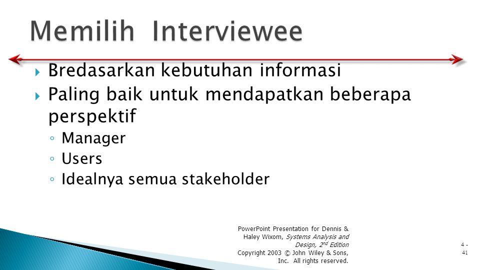 Memilih Interviewee Bredasarkan kebutuhan informasi