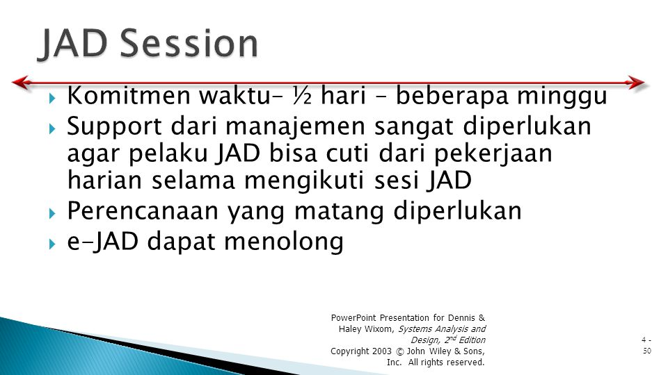 JAD Session Komitmen waktu– ½ hari – beberapa minggu