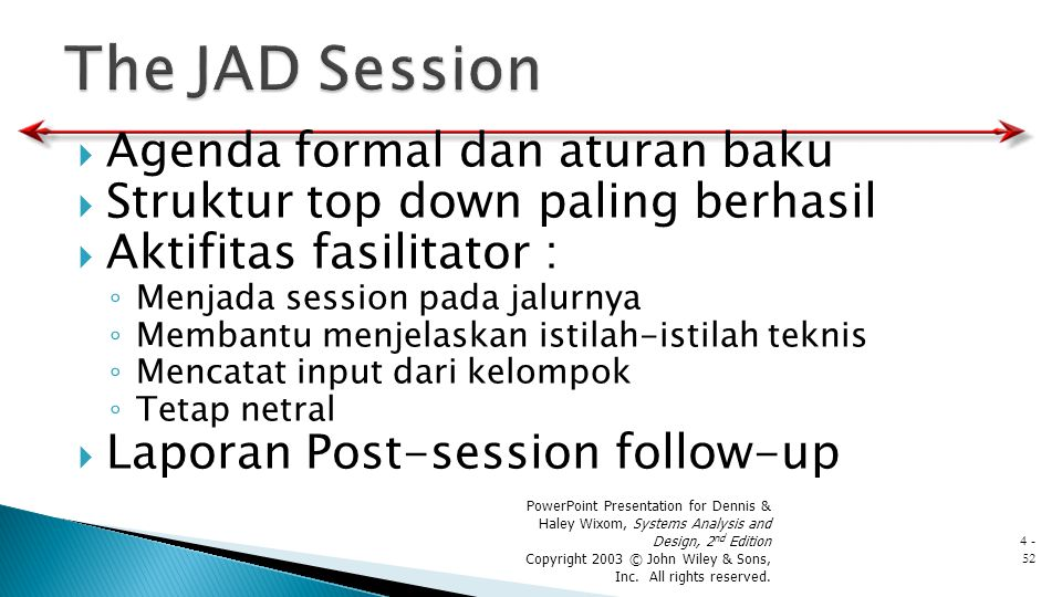 The JAD Session Agenda formal dan aturan baku