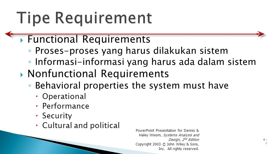 Tipe Requirement Functional Requirements Nonfunctional Requirements