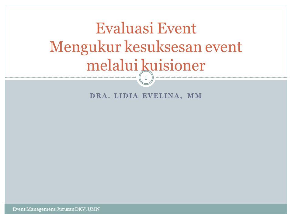 Evaluasi Event Mengukur kesuksesan event melalui kuisioner