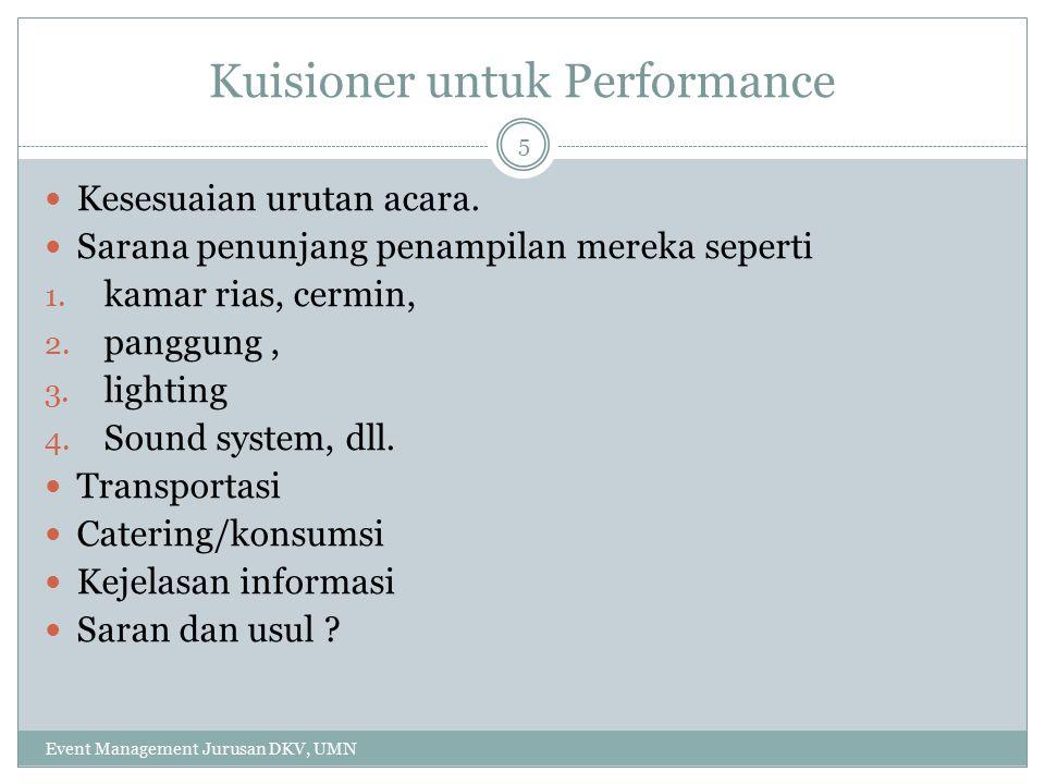 Kuisioner untuk Performance