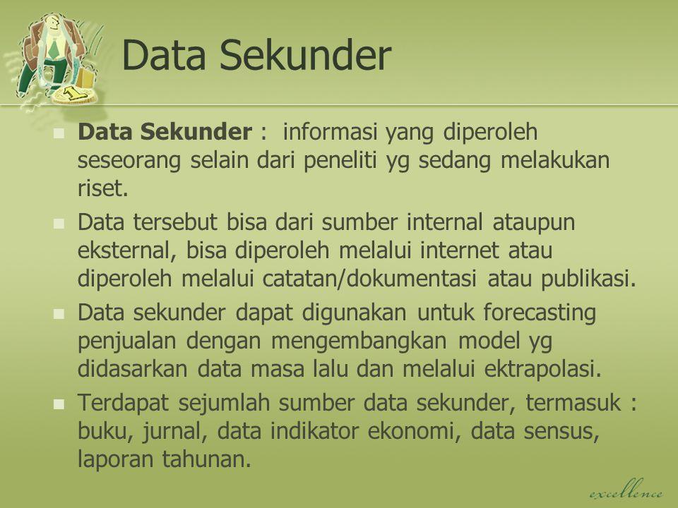 Data Sekunder Data Sekunder : informasi yang diperoleh seseorang selain dari peneliti yg sedang melakukan riset.