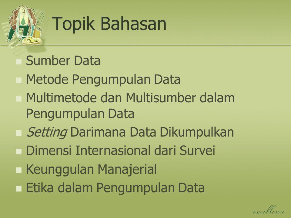 Topik Bahasan Sumber Data Metode Pengumpulan Data