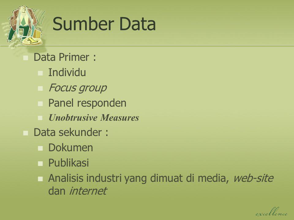 Sumber Data Data Primer : Individu Focus group Panel responden