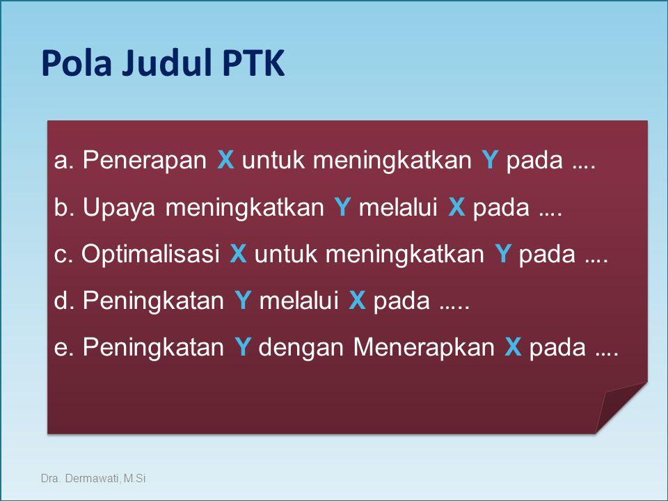 Pola Judul PTK a. Penerapan X untuk meningkatkan Y pada ….