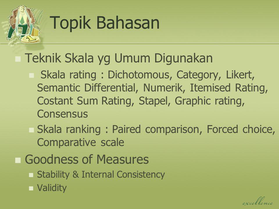 Topik Bahasan Teknik Skala yg Umum Digunakan Goodness of Measures