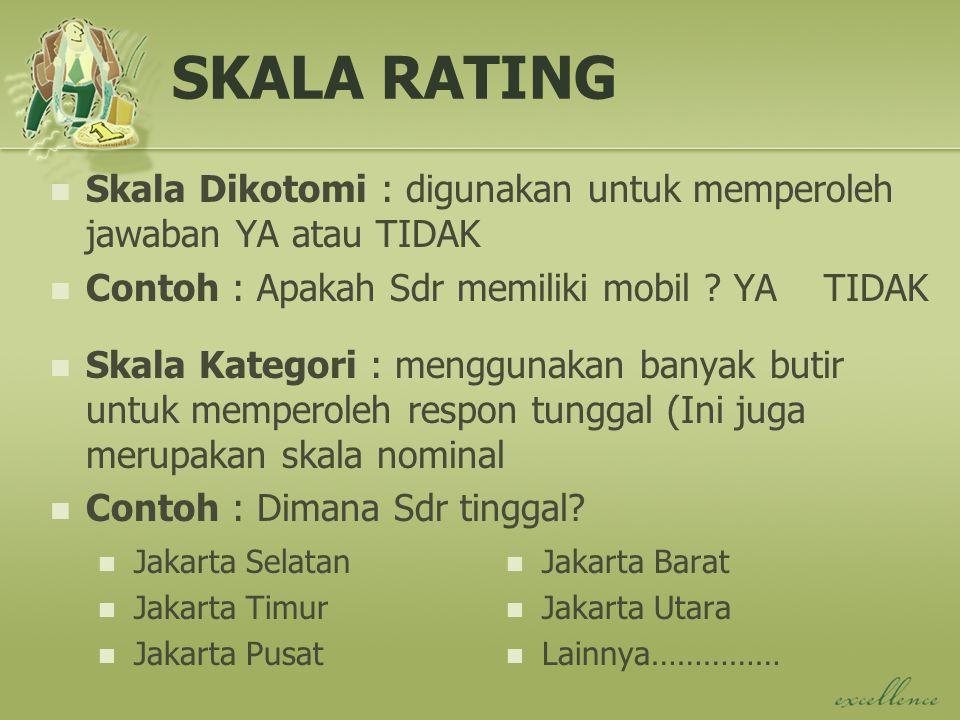SKALA RATING Skala Dikotomi : digunakan untuk memperoleh jawaban YA atau TIDAK. Contoh : Apakah Sdr memiliki mobil YA TIDAK.