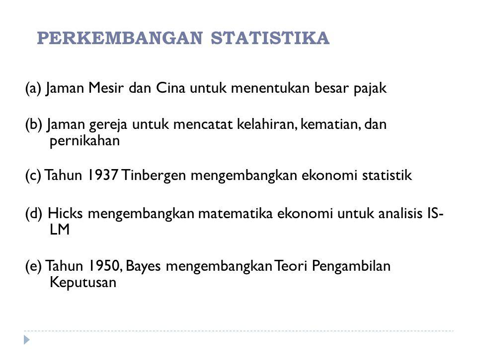 PERKEMBANGAN STATISTIKA
