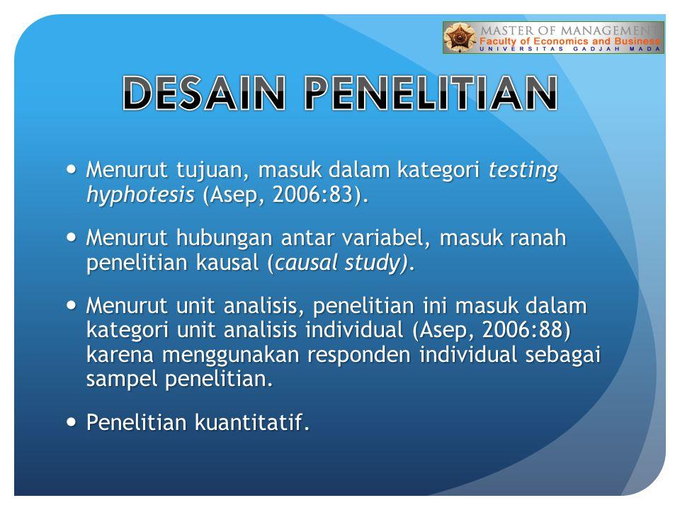 DESAIN PENELITIAN Menurut tujuan, masuk dalam kategori testing hyphotesis (Asep, 2006:83).
