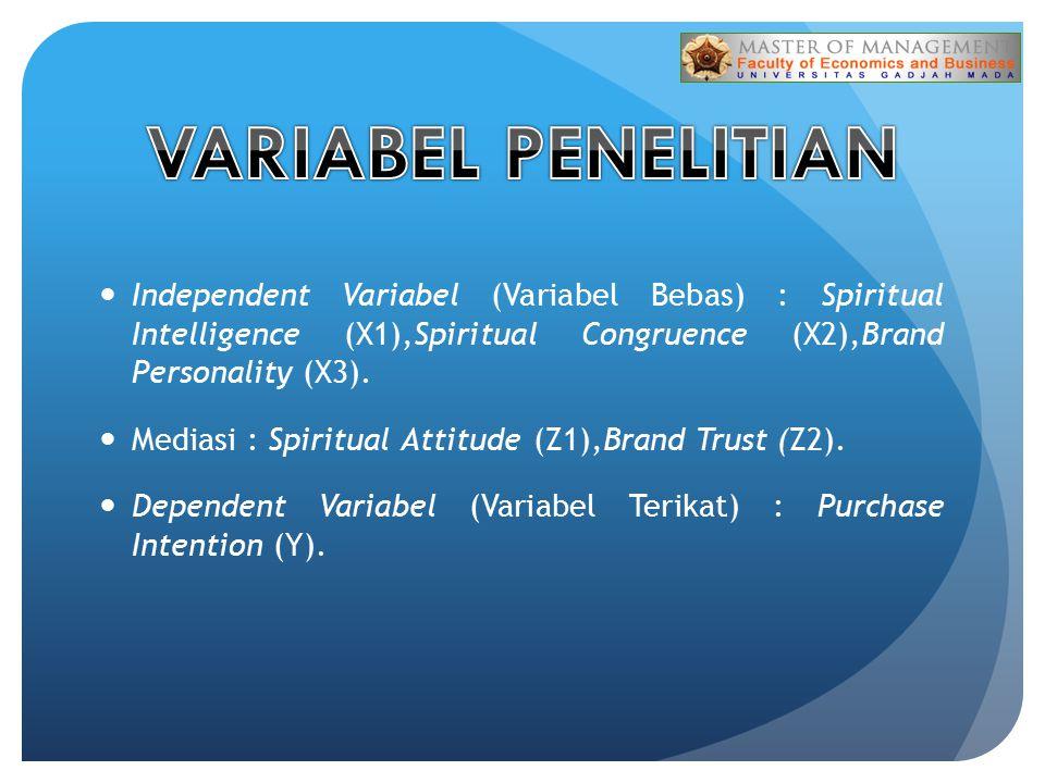 VARIABEL PENELITIAN Independent Variabel (Variabel Bebas) : Spiritual Intelligence (X1),Spiritual Congruence (X2),Brand Personality (X3).