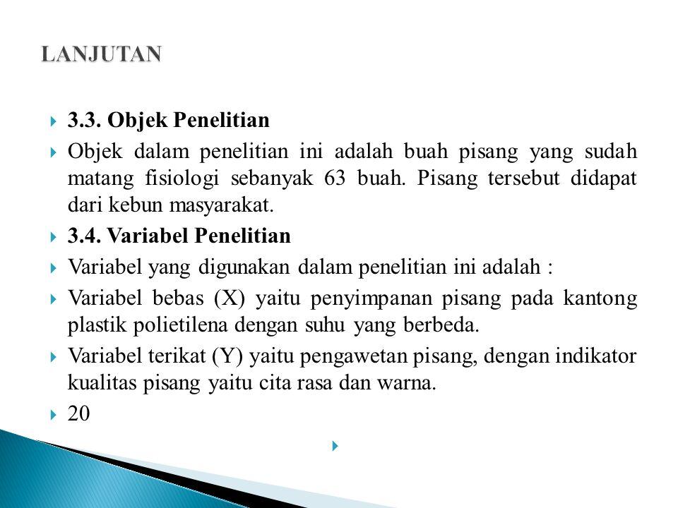 LANJUTAN 3.3. Objek Penelitian.