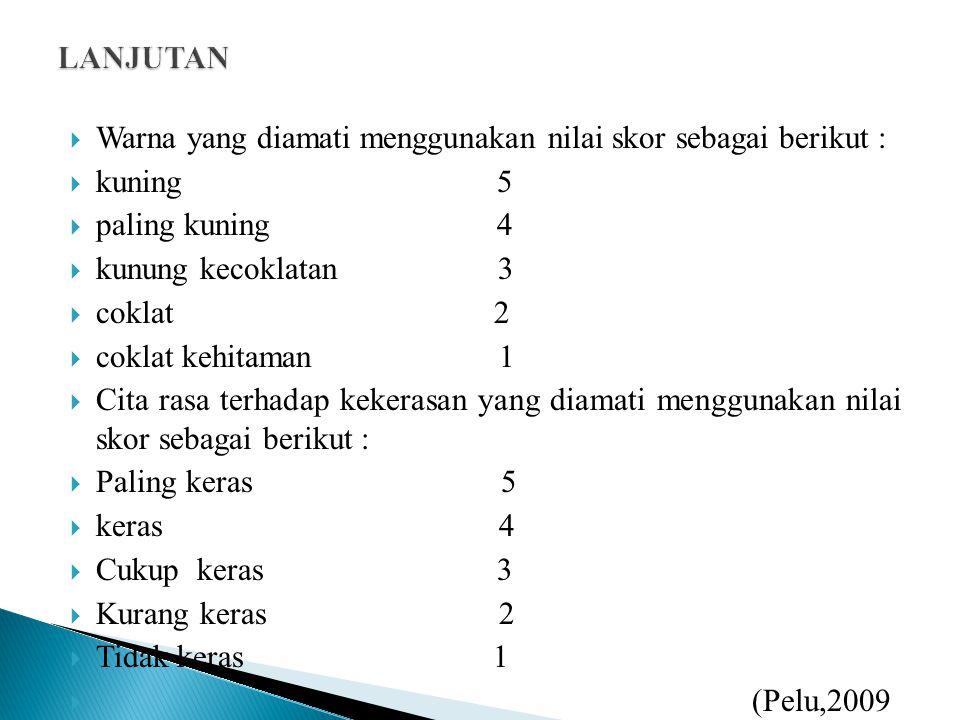 LANJUTAN Warna yang diamati menggunakan nilai skor sebagai berikut : kuning 5.