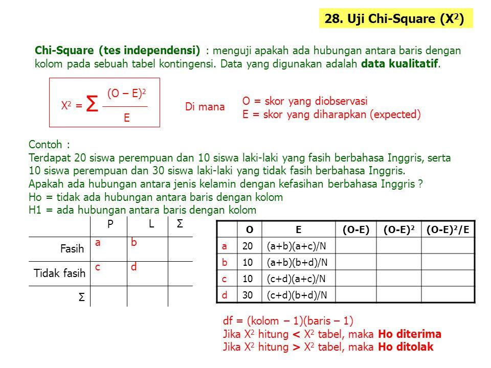 28. Uji Chi-Square (X2) Chi-Square (tes independensi) : menguji apakah ada hubungan antara baris dengan.