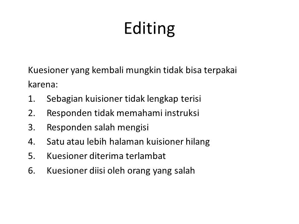 Editing Kuesioner yang kembali mungkin tidak bisa terpakai karena:
