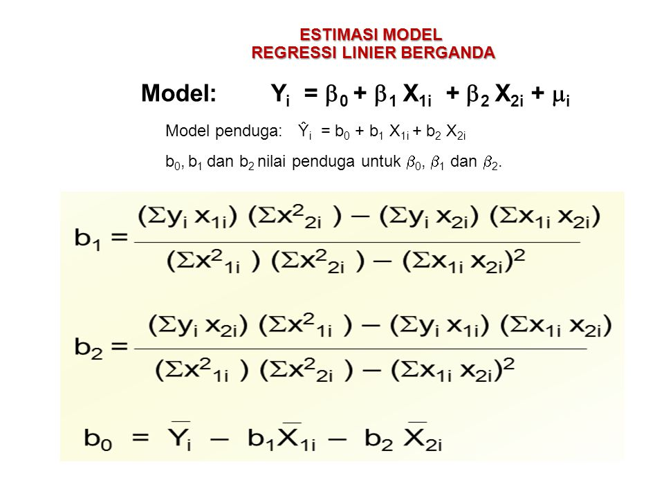 REGRESSI LINIER BERGANDA Model: Yi = 0 + 1 X1i + 2 X2i + i