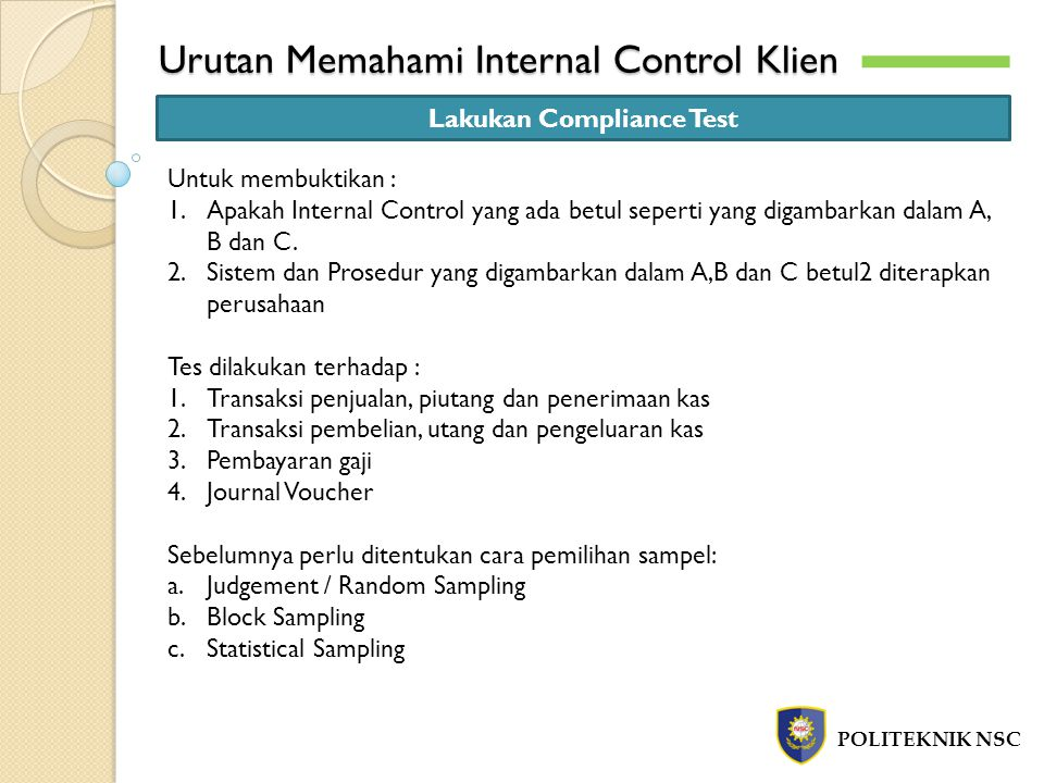 Urutan Memahami Internal Control Klien