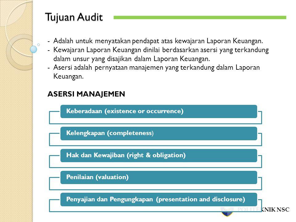 Tujuan Audit Adalah untuk menyatakan pendapat atas kewajaran Laporan Keuangan.