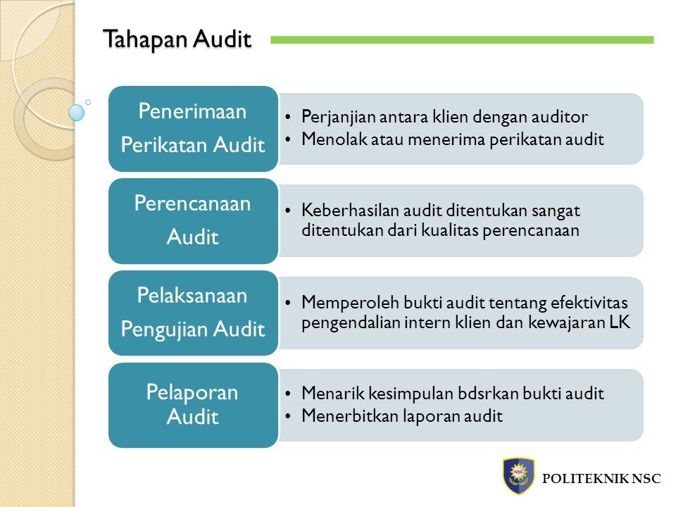 Tahapan Audit POLITEKNIK NSC Perikatan Audit Penerimaan