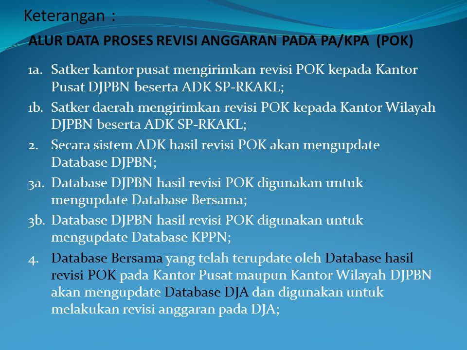 Keterangan : ALUR DATA PROSES REVISI ANGGARAN PADA PA/KPA (POK)