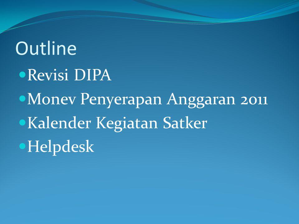 Outline Revisi DIPA Monev Penyerapan Anggaran 2011