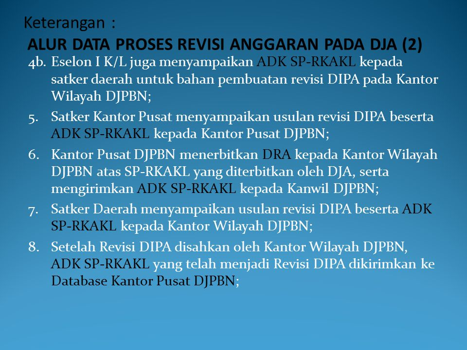 Keterangan : ALUR DATA PROSES REVISI ANGGARAN PADA DJA (2)
