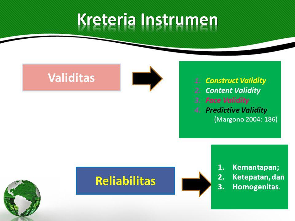Kreteria Instrumen Validitas Reliabilitas Construct Validity