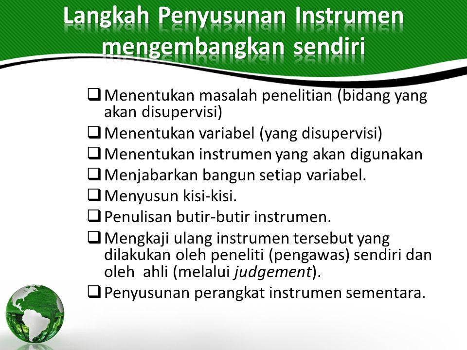 Langkah Penyusunan Instrumen mengembangkan sendiri