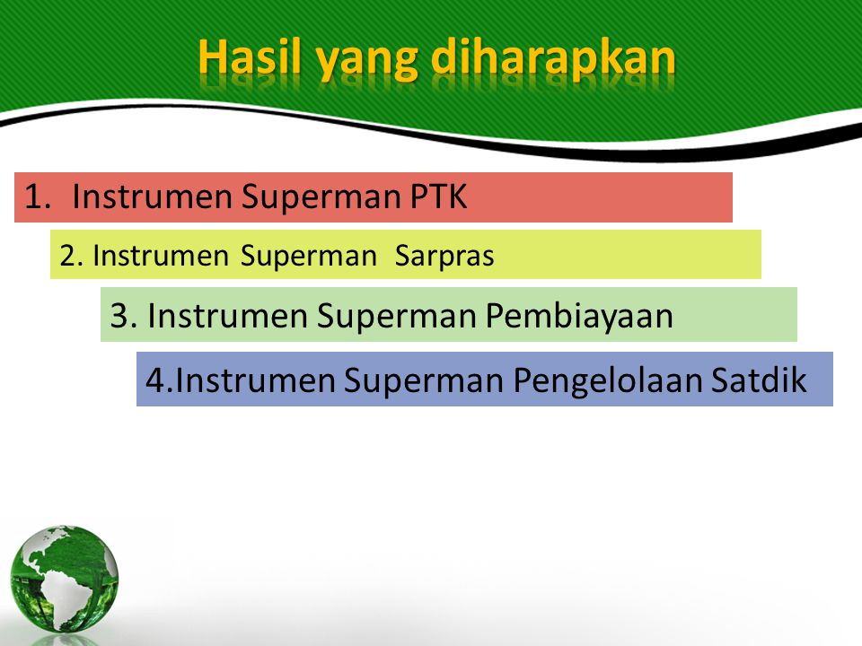 Hasil yang diharapkan Instrumen Superman PTK