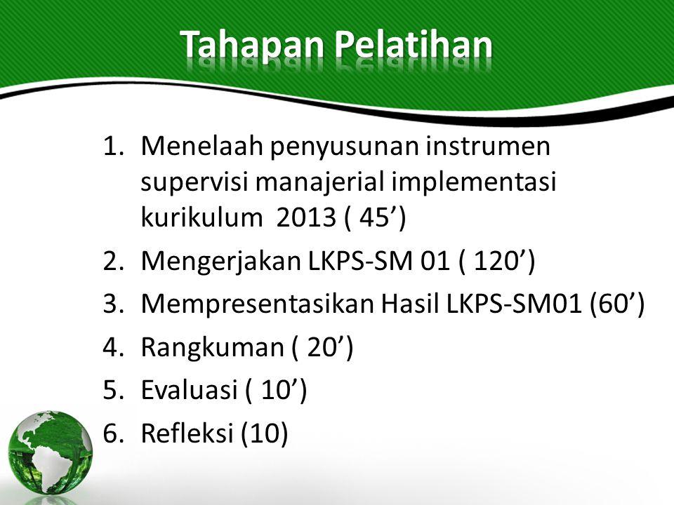 Tahapan Pelatihan Menelaah penyusunan instrumen supervisi manajerial implementasi kurikulum 2013 ( 45')