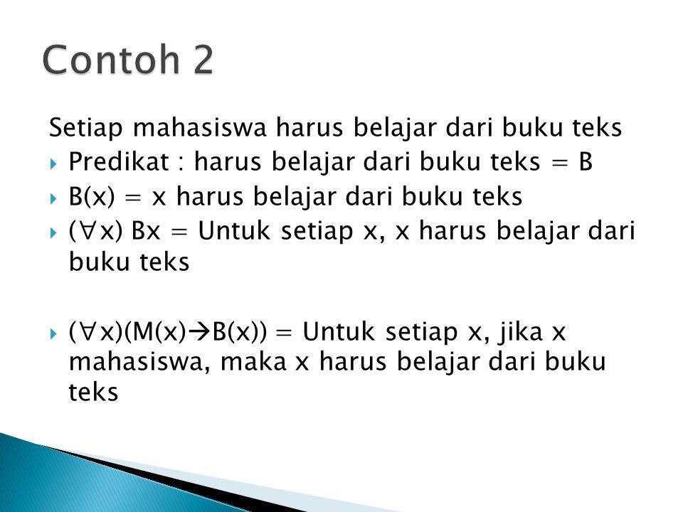 Contoh 2 Setiap mahasiswa harus belajar dari buku teks
