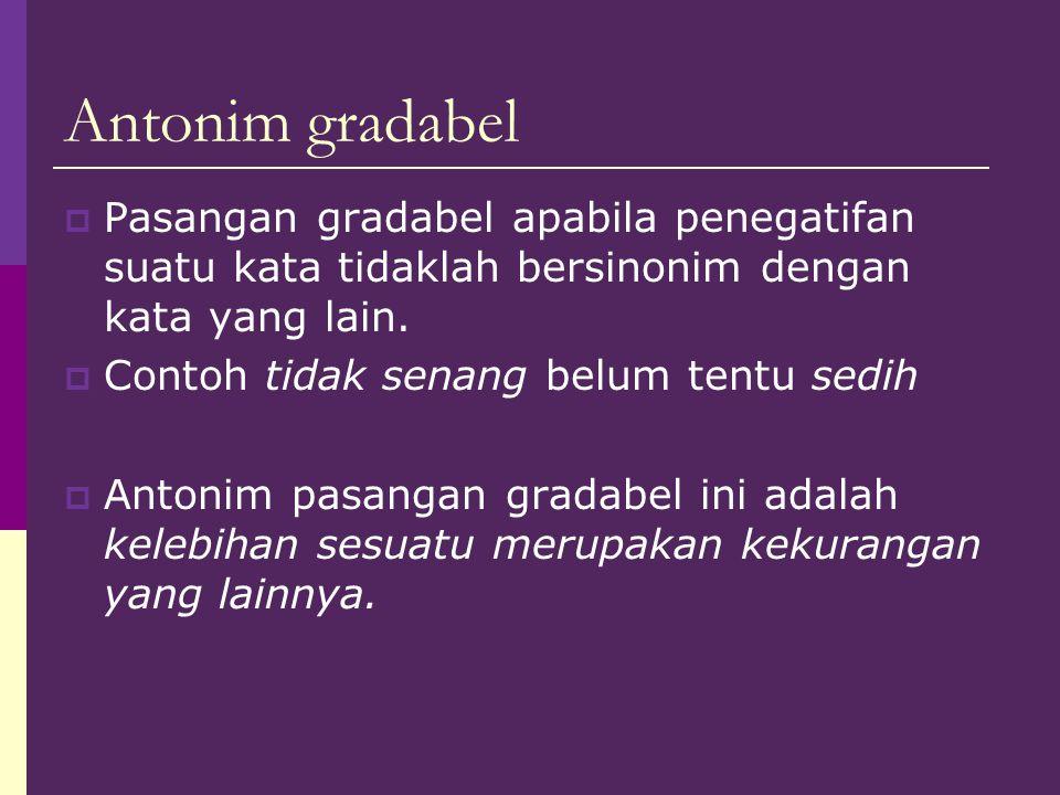 Antonim gradabel Pasangan gradabel apabila penegatifan suatu kata tidaklah bersinonim dengan kata yang lain.