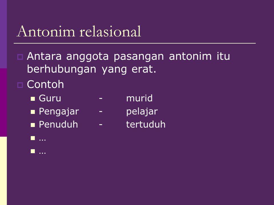 Antonim relasional Antara anggota pasangan antonim itu berhubungan yang erat. Contoh. Guru - murid.