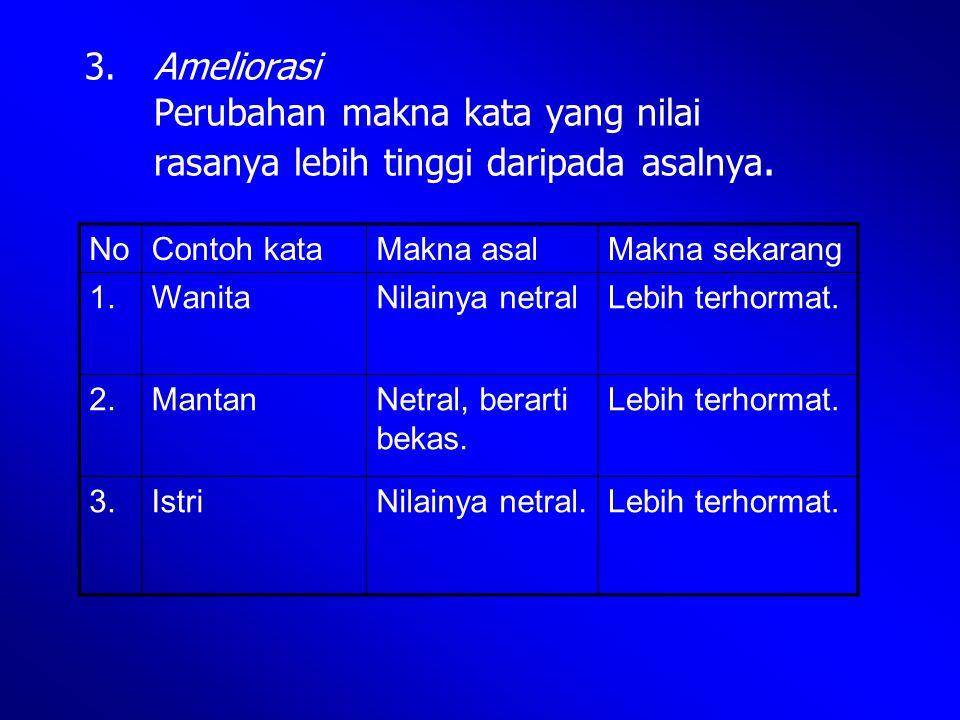 3. Ameliorasi. Perubahan makna kata yang nilai