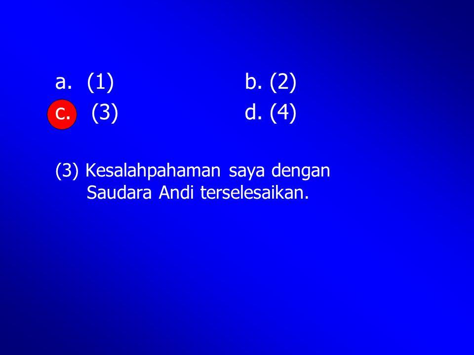(1) b. (2) c. (3) d. (4) (3) Kesalahpahaman saya dengan Saudara Andi terselesaikan.
