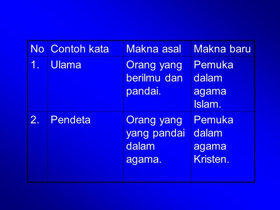 No Contoh kata. Makna asal. Makna baru. 1. Ulama. Orang yang berilmu dan pandai. Pemuka dalam agama Islam.