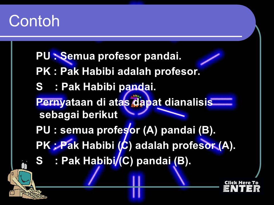 Contoh PU : Semua profesor pandai. PK : Pak Habibi adalah profesor.
