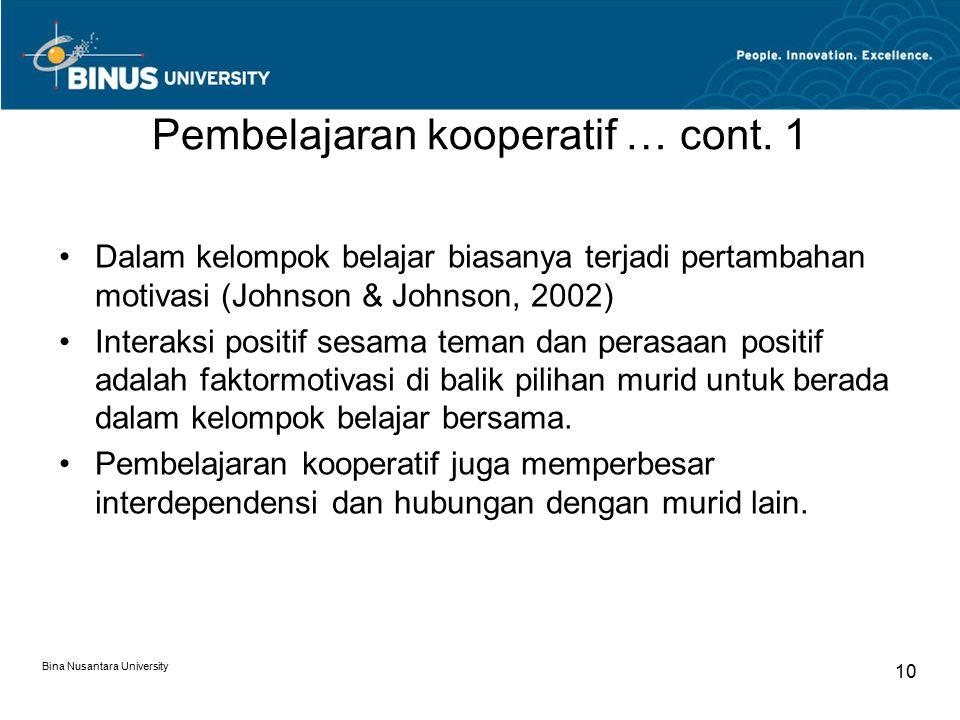 Pembelajaran kooperatif … cont. 1