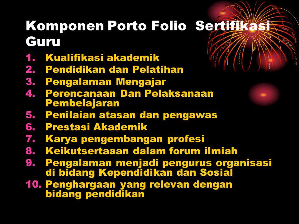 Komponen Porto Folio Sertifikasi Guru