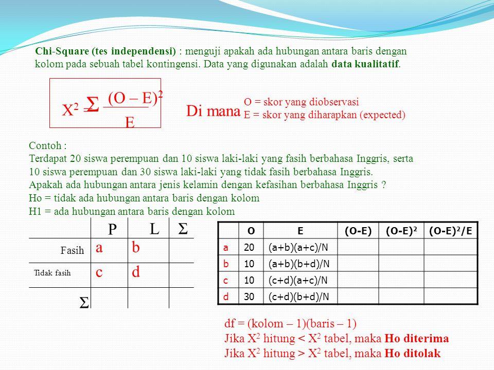 Σ (O – E)2 X2 = Di mana E P L Σ a b c d Σ df = (kolom – 1)(baris – 1)