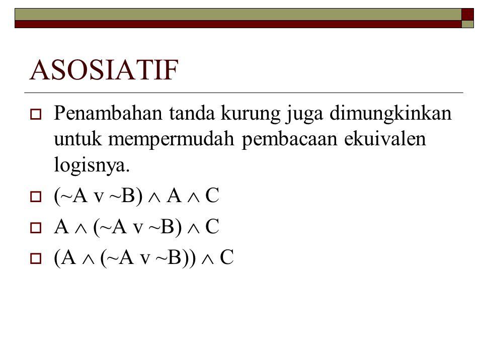 ASOSIATIF Penambahan tanda kurung juga dimungkinkan untuk mempermudah pembacaan ekuivalen logisnya.