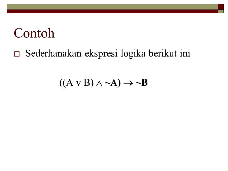 Contoh Sederhanakan ekspresi logika berikut ini ((A v B)  ~A)  ~B