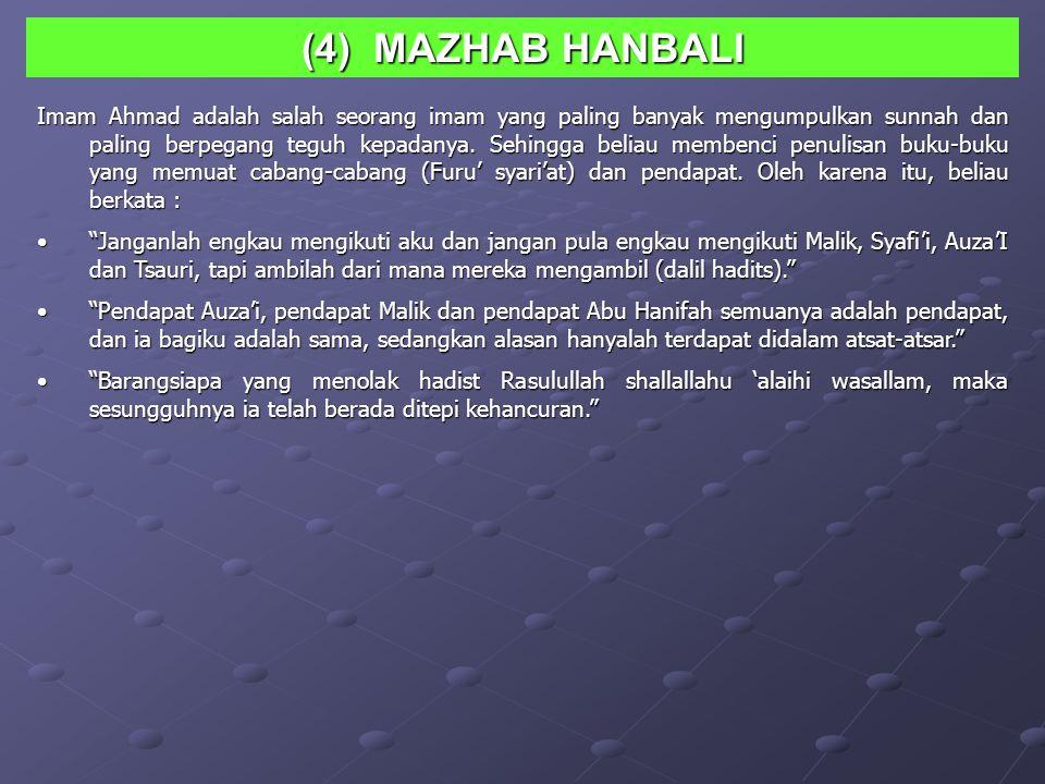 (4) MAZHAB HANBALI