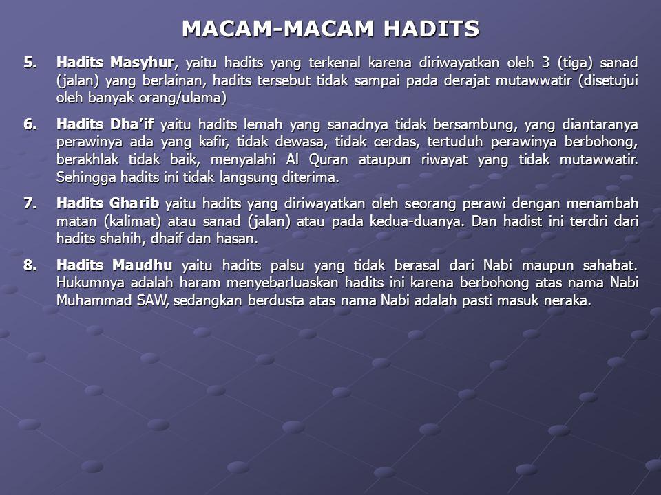 MACAM-MACAM HADITS